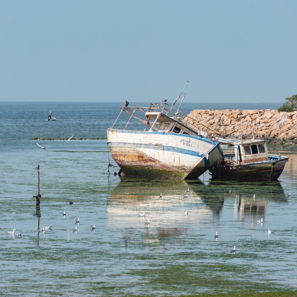 Fishing boats on the North African coast